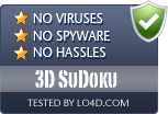 3D SuDoku is free of viruses and malware.