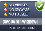 3ivx D4 for Windows is free of viruses and malware.
