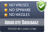 Absolute Database is free of viruses and malware.