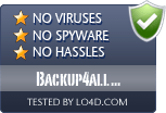 Backup4all Professional is free of viruses and malware.