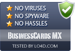 BusinessCards MX is free of viruses and malware.