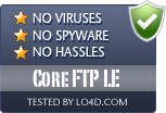 Core FTP LE is free of viruses and malware.