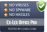 Ex-Lex Office Pro is free of viruses and malware.
