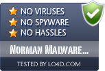 Norman Malware Cleaner is free of viruses and malware.