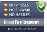 Orion File Recovery is free of viruses and malware.