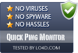 Quick Ping Monitor is free of viruses and malware.