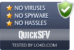 QuickSFV is free of viruses and malware.