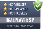 RealPlayer SP is free of viruses and malware.