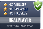 RealPlayer is free of viruses and malware.
