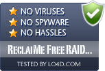 ReclaiMe Free RAID Recovery is free of viruses and malware.