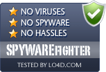 SPYWAREfighter is free of viruses and malware.