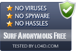 Surf Anonymous Free is free of viruses and malware.