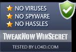 TweakNow WinSecret is free of viruses and malware.