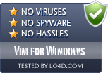 Vim for Windows is free of viruses and malware.