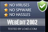 WebEdit 2002 is free of viruses and malware.