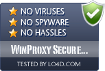 WinProxy Secure Suite is free of viruses and malware.