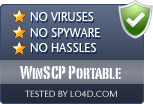 WinSCP Portable is free of viruses and malware.