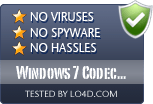 Windows 7 Codec Pack is free of viruses and malware.