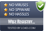 Wise Registry Cleaner Free is free of viruses and malware.