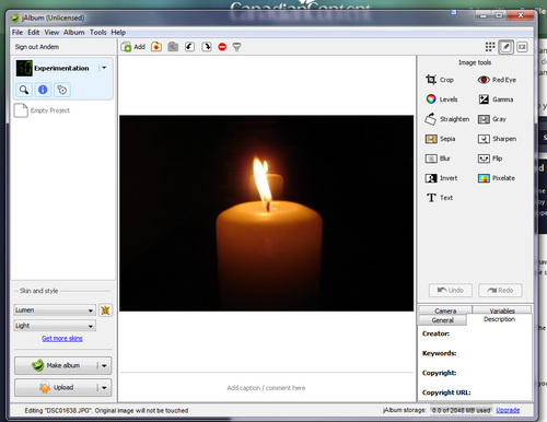 Touching up images with jAlbum